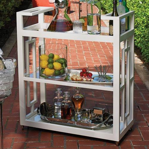 White Grid Block Bar Cart