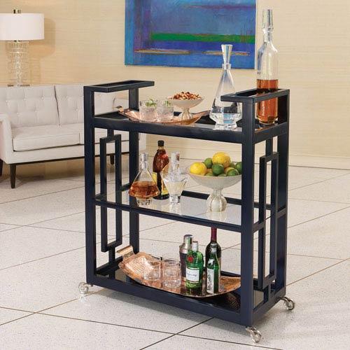 Ink Blue Grid Block Bar Cart