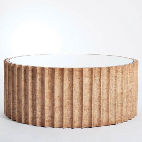 Global Views Reflective Olive Ash Burl Column Cocktail Table