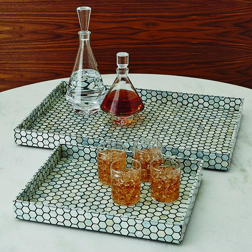 Mother of Pearl Black Large Tray
