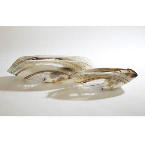Global Views Ivory Spiral Large Folded Bowl