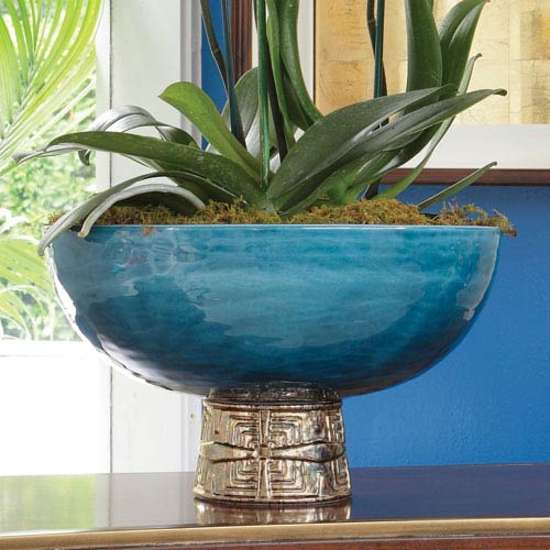 Cobalt and Antique Gold Maze Compote