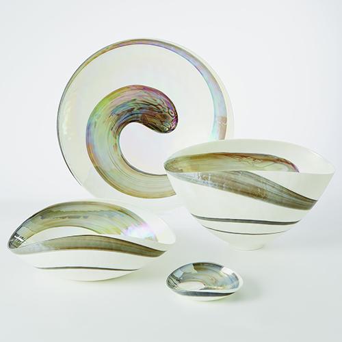 Pearl Grey Swirl Large Bowl