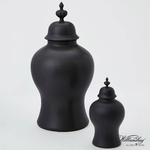 Global Views Beaufort Matte Black Large Ginger Jar