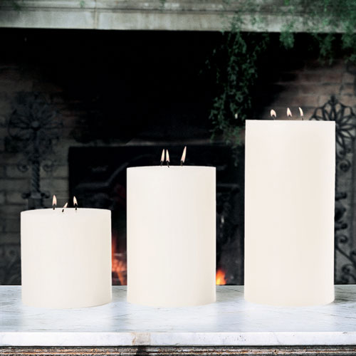 3-Wick Unscented Pillar Candle - 6 x 9