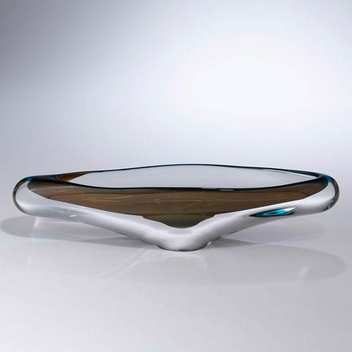 Global Views Canoe Turquoise and Beige Bowl