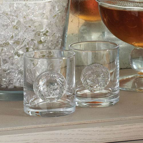 Global Views Double Old Fashion Leo Drinking Glasses, Set of Four