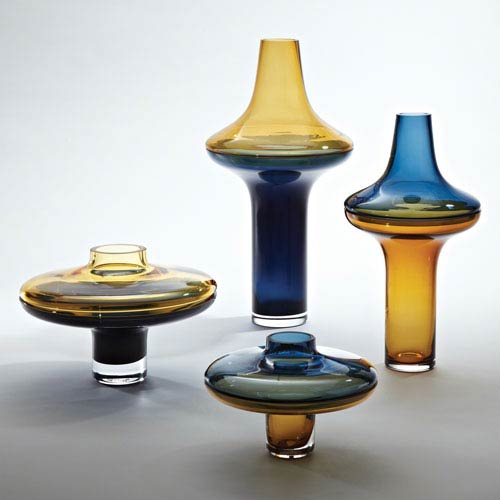 Tall Amber Over Cobalt Small Vase