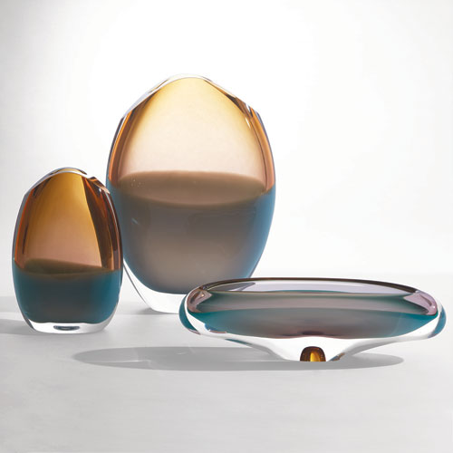 Global Views Pistachio Bubble Amber Canoe Bowl