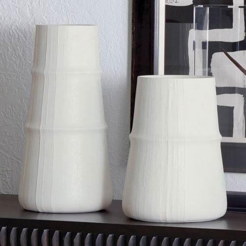 Studio A Large Linen Soft White Vase