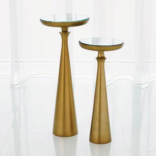 Studio A Large Minaret Satin Brass Accent Table