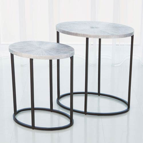 Studio A Small Striated Nickel Accent Table