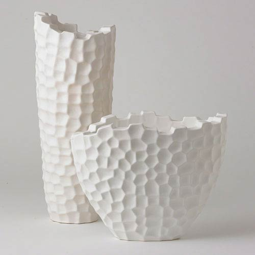 Studio A Matte White Tall Random Grid Vase Only
