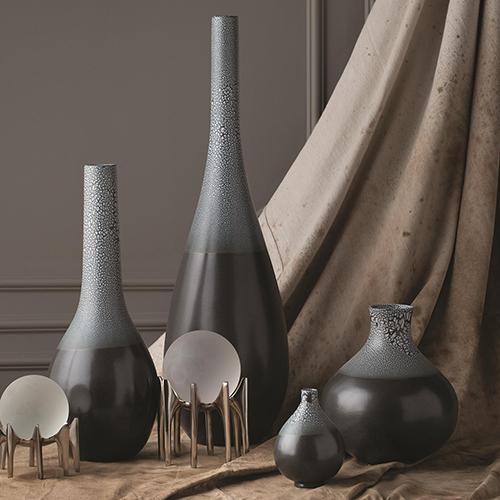 Studio A Eggshell Grey and Blue Medium Vase