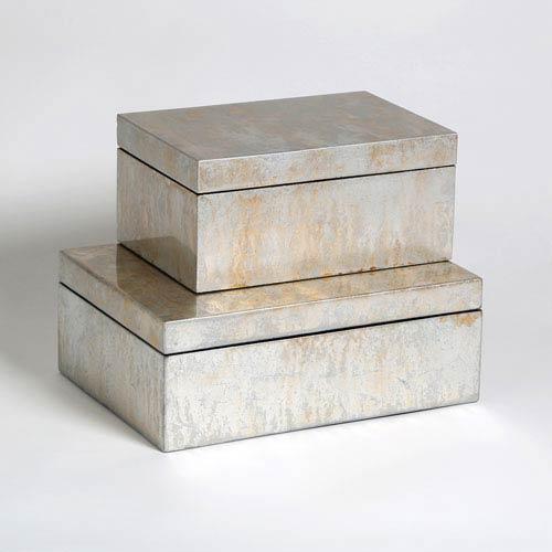 Studio A Champagne Large Silver Leaf Box