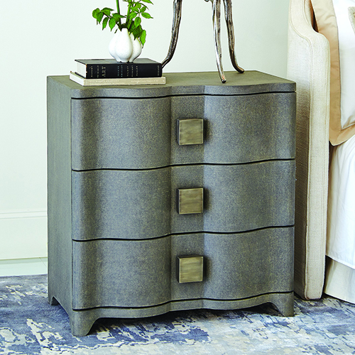 Studio A Toile Linen Grey Bedside Chest