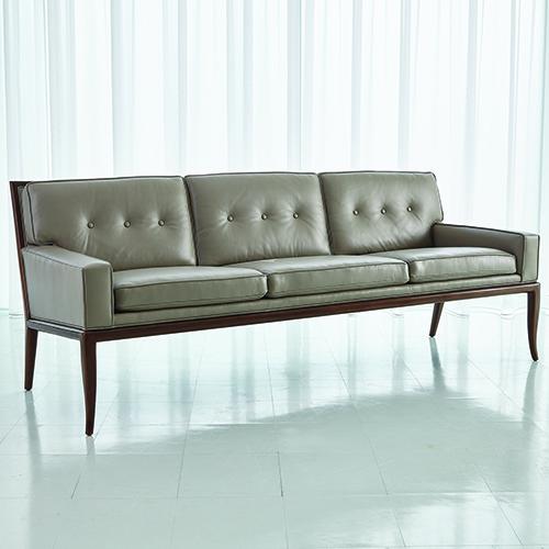 Studio A Wilson Grey Leather Sofa