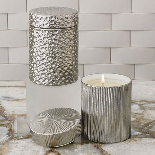 Global Views Studio A Ocean Sandalwood Teak Silver Jar Candle