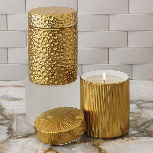 Studio A Moonscape Sandalwood Teak Gold Jar Candle