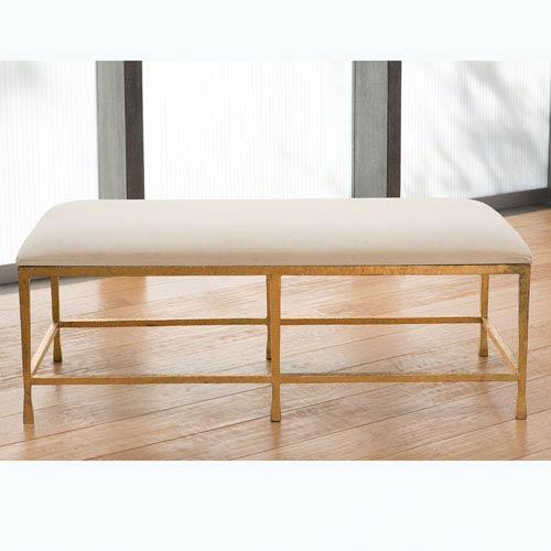 Studio A Quad Pod Gold Leaf Bench with Muslin Cushion