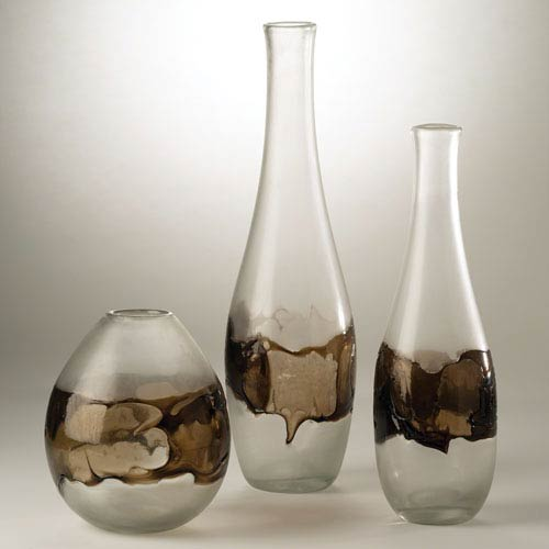 Studio A Molten Glass Large Clear and Topaz Bottle