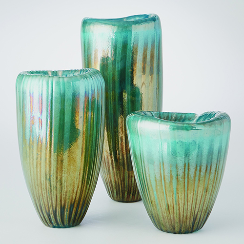 Studio A Tear Drop Folded Turquoise and Metallic Small Vase