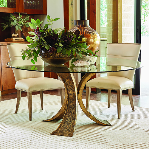 Studio A Lotus Antique Gold and Bronze Dining Table with 60-Inch Glass Top