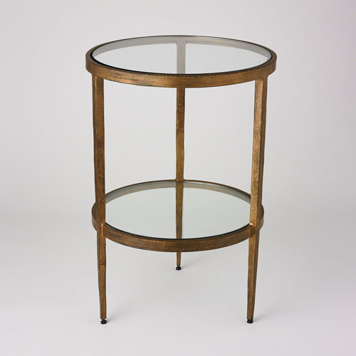 Global Views Studio A Laforge Two Tiered Antique Gold Side Table