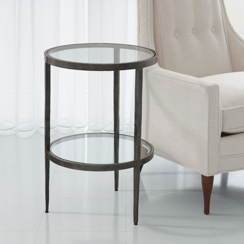 Studio A Laforge Two-Tiered Iron and Braised Brass Side Table