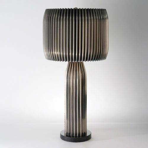 Global Views Studio A Crimp Antique Nickel Two-Light Table Lamp