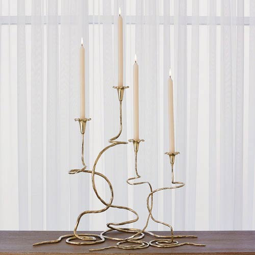 Global Views Studio A Brass Morning Glory Small Candleholder, Set of Two
