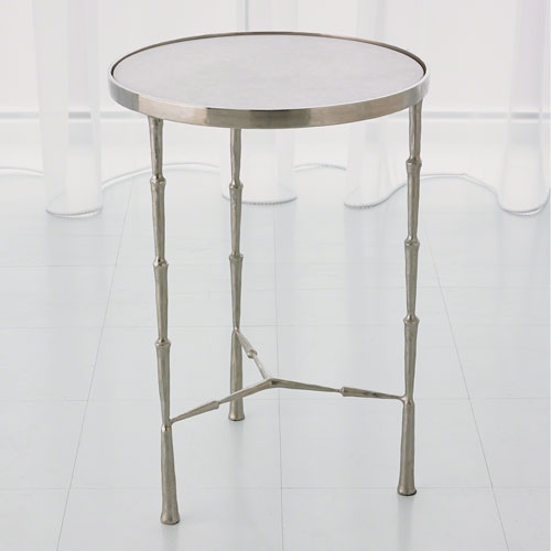 Global Views Studio A Spike Nickel with White Marble Accent Table