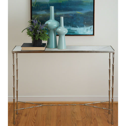 Global Views Studio A Spike Antique Nickel Console Table with White Marble