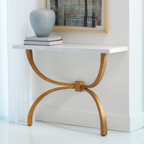 Global Views Studio A Teton Gold With White Marble Top Console Table