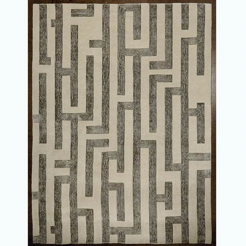 Global Views Studio A Labyrinth Gray Rectangular: 5 Ft. x 8 Ft. Are Rug