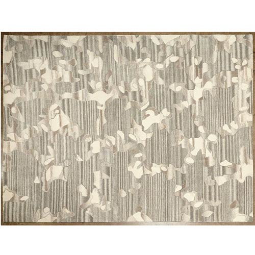 Global Views Studio A Anemone Gray and Ivory Rectangular: 5 Ft. x 8 Ft. Area Rug