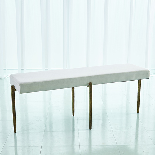 Studio A Laforge Antique Gold Large Bench with Muslin Cushion