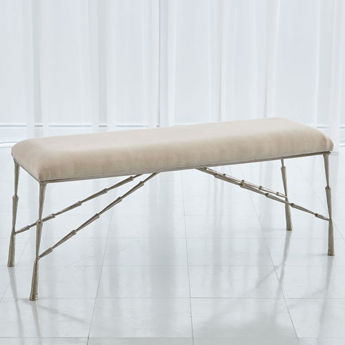 Global Views Antique Nickel Spike Bench with Muslin Cushion