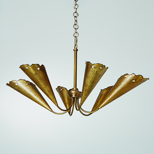 Studio A Melting Antique Brass Six-Light Chandelier
