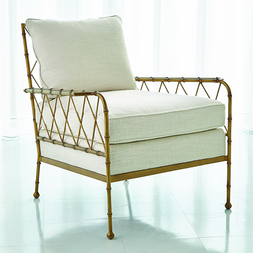 Studio A Avada Ivory and Antique Gold Bamboo Lounge Chair