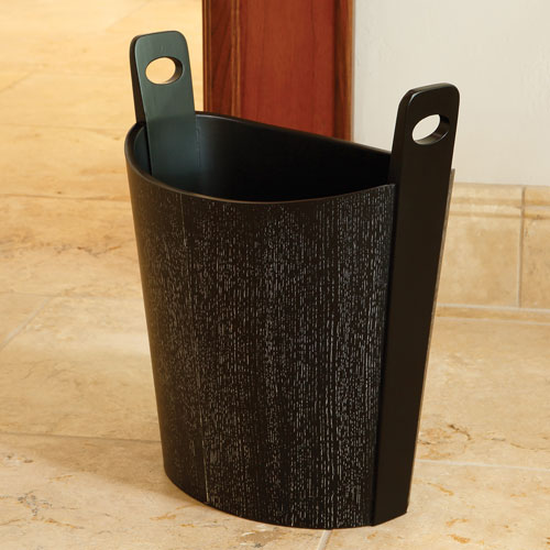 Black Cerused Oak Wastebasket