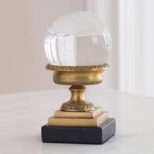 Global Views Petite Brass Urn On Marble Base