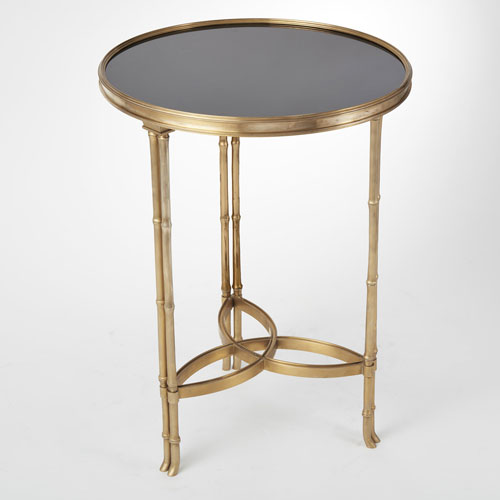 Double Bamboo Leg Brass and Granite Accent Table