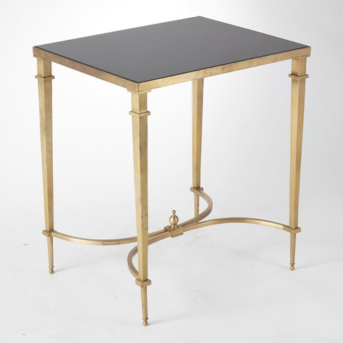 Global Views Rectangular French Brass and Black Granite End Table