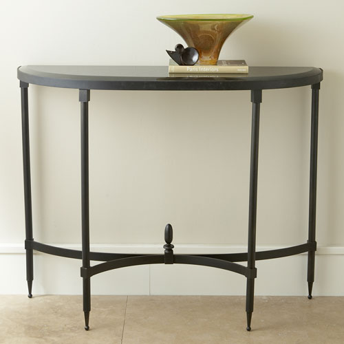 Global Views Fluted Iron Collection Console with Granite
