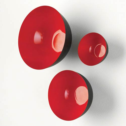Flying Wall Fiery Red Bowls, Set of Three