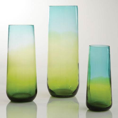 Ombre Taper Aqua and Gold Medium Vase