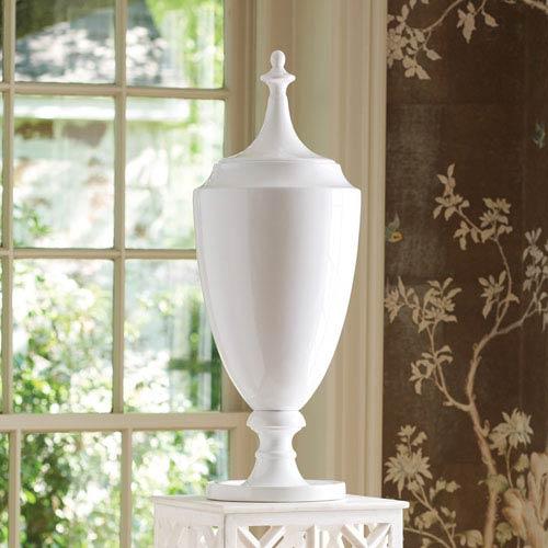 Global Views Grande White Urn with Lid