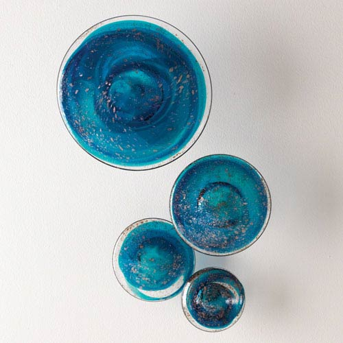 Blue Glass Wall Mushrooms, Set of Four
