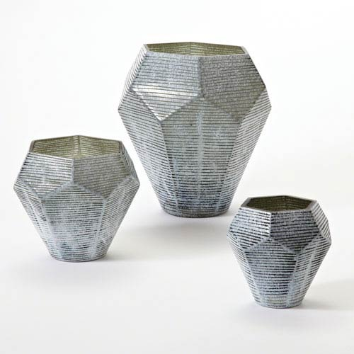 Global Views Faceted Stria Gray Small Vase